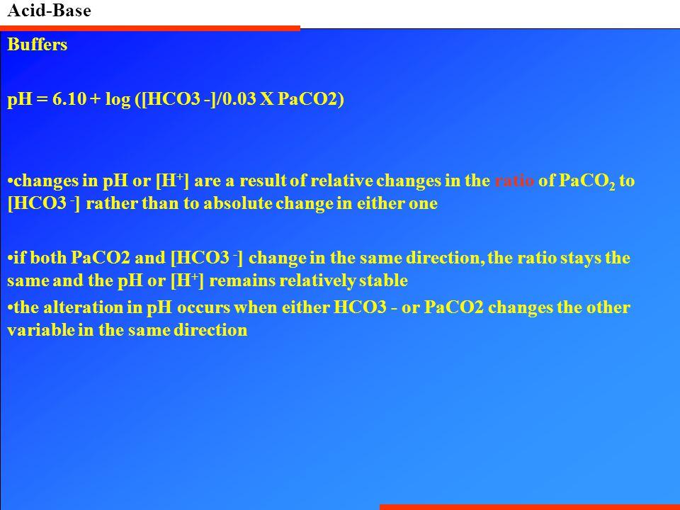 Acid-Base Buffers. pH = 6.10 + log ([HCO3 -]/0.03 X PaCO2)